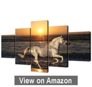 Canvas Animal Painting Wall Art Prints Sunset Running Horse Sea view Pictures