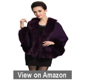 Caracilia Women Luxury Bridal Faux Fur Cape Shawl