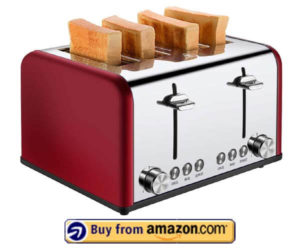 4 Slice Toaster, CUSIBOX Stainless Steel Toaster with Bagel